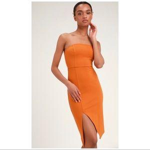 Jazzie Burnt Orange Strapless Bodycon Dress